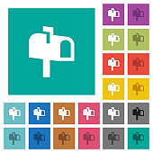 Mailbox square flat multi colored icons