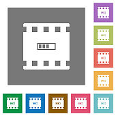 Movie processing square flat icons