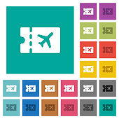 Air travel discount coupon square flat multi colored icons