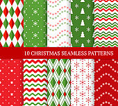 Ten Christmas different seamless patterns. Xmas endless texture for wallpaper, web page background, wrapping paper and etc. Retro style. Waves, snowflakes, argyles, Christmas trees and stars