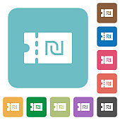 New Shekel discount coupon rounded square flat icons