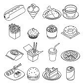 Lineart isometric fast food icons set design vector illustration