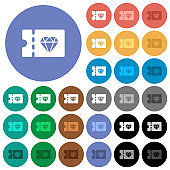 Jewelry store discount coupon round flat multi colored icons