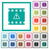 Movie warning flat color icons with quadrant frames