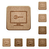 Secure desktop wooden buttons