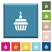 Birthday cupcake white icons on edged square buttons