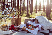 Romantic picnic set up with mixed food platter and win