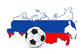 russia map flag and soccer ball Illustrator. design graphic