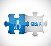 your vote counts in Spanish puzzle pieces message