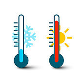 Hot and Cold Thermometer Icons