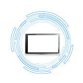 tablet over moving technology circle graphics.