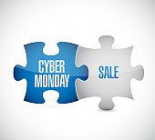Cyber Monday Sale puzzle pieces message concept