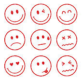 emoticons /smiley face stamp icon set (smile,cheerful,sad,heart,wink,crying etc.)