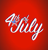 4th of july sign. Vector Illustration.