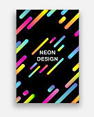 Colorful vector with neon colors. Futuristic abstract design with trendy geometric shapes