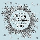 Merry Christmas background with shiny snowflakes, silver tinsel and streamer. Greeting card and Xmas template. Vector illustration.