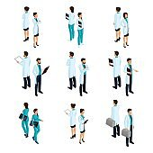 Set of medical workers in the isometric front and back, hospital staff, doctor, surgeon, nurse