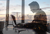 Businessman using table in the office