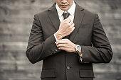 Businessman getting ready