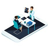 Isometric concept of online consultation of a qualified doctor and surgeon via mobile phone and social networks