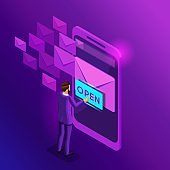 Isometric business men look Email Inbox Electronic a smartphone. Communication. E-mail marketing, Receiving messages. Inbox email