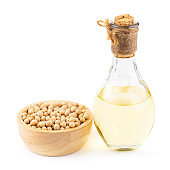 Soybean oil and soybean isolated on white background. Healthy fruit concept