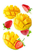 Flying Mango slices with strawberries