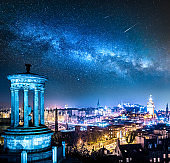 Night view from Calton Hill to Edinburgh with stars, Scotland