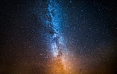 Colorful constellation and universe with million stars at night