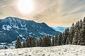 Winter scenic panorama in Bavaria