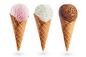 Strawberry, Vanilla and chocolate ice creams
