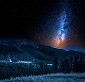 Milky way and Tatra Mountains in Zakopane, Poland