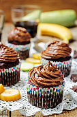 Chocolate zucchini banana cupcakes with chocolate avocado banana peanut butter cream frosting