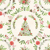 Watercolor seamless pattern with Christmas tree and circles compositions with plants