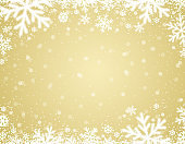Yellow  christmas background with white blurred snowflakes, vector illustration