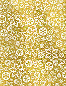 Golden Christmas background with white snowflakes and stars,  vector illustration