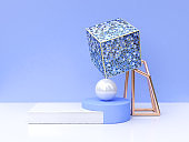 square shape blue tile abstract 3d rendering