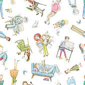 Watercolor seamless pattern with cartoon people