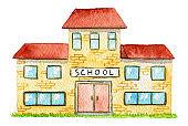 Watercolor yellow school