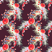 Seamless pattern with a Christmas decoration.