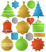 Set of color golden glittering christmas labels, box, tree, bell, heart, star, vector illustration