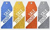 Set of golden color glittering labels over transparent background, vector illustration