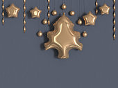 christmas tree balloon gold metallic grey wall 3d rendering