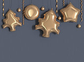 christmas star circle balloon gold metallic grey wall 3d rendering