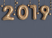 2019 balloon text/number gold metallic grey wall 3d rendering
