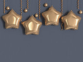 star balloon gold metallic grey wall 3d rendering christmas concept