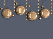 circle gold metallic grey wall 3d rendering