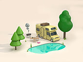 Home car and Picnic turquoise swamp 3D Rendering
