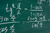 School, education, lesson. Mathematics formulas written on the chalboard.