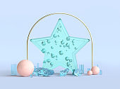 green clear star shape decoration christmas concept 3d rendering